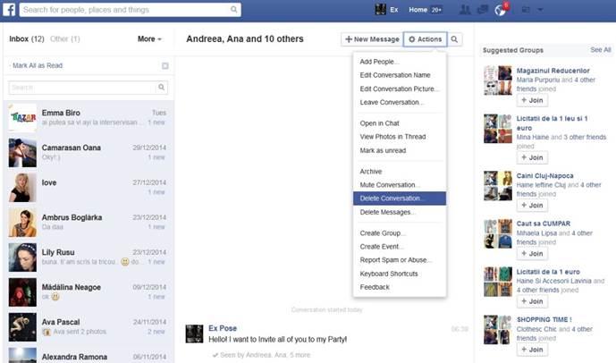een bericht op Facebook Verwijderen