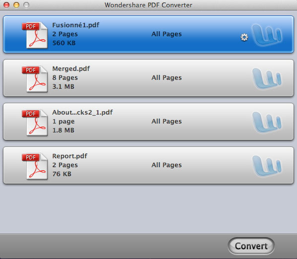 Import PDF files and select the conversion type