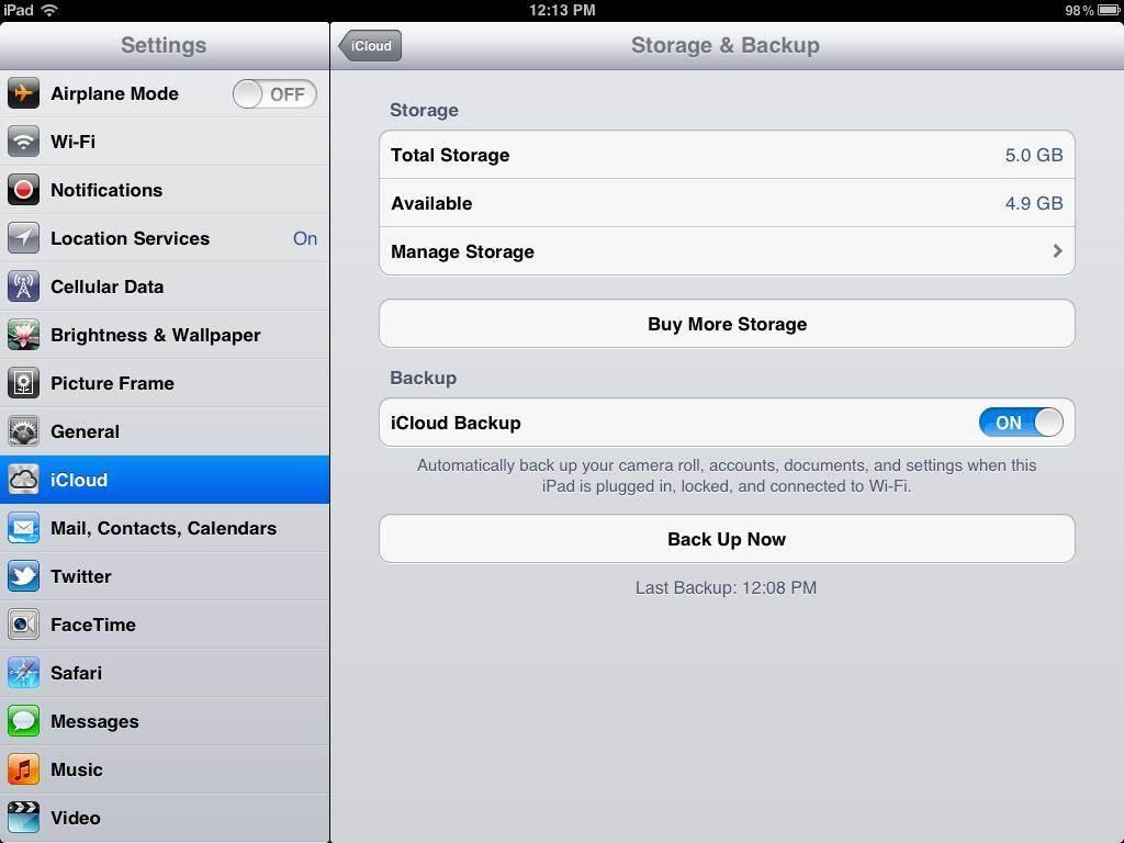 ipad iCloud backup tricks