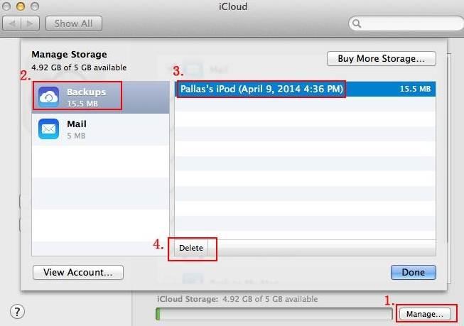 verwijder iCloud back-up