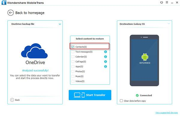 restore from onedrive