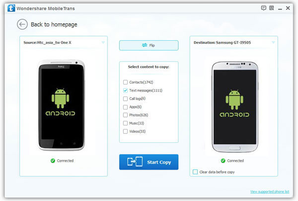 transfer sms to new android