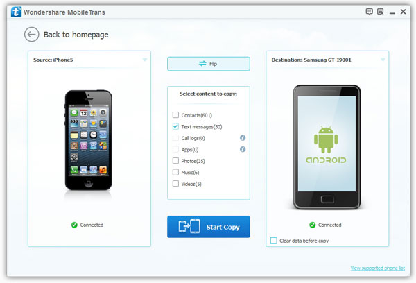 copy sms from iphone to android