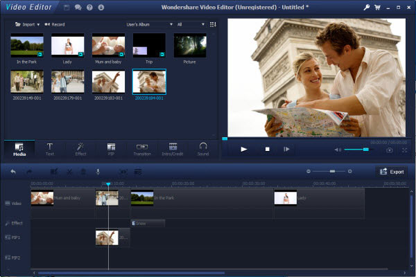 video editor interface